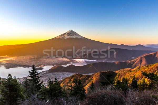 Foto stock: Montanha · fuji · nascer · do · sol · Japão · inverno · água