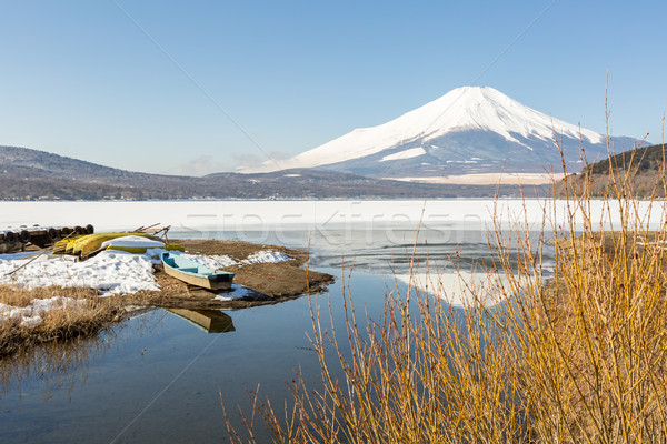 Kış Fuji Dağı göl yansıma kar Stok fotoğraf © vichie81