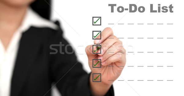 To do list asian zakenvrouw business pen achtergrond Stockfoto © vichie81