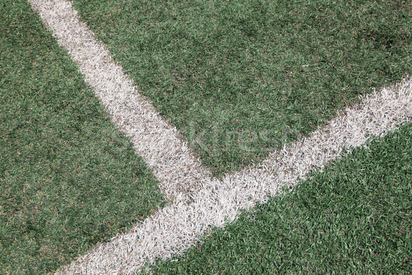 intersection of white line on soccer football field Stock photo © vichie81