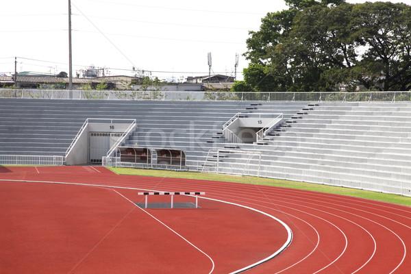 Yarış pisti eğri stadyum arka plan spor alan Stok fotoğraf © vichie81