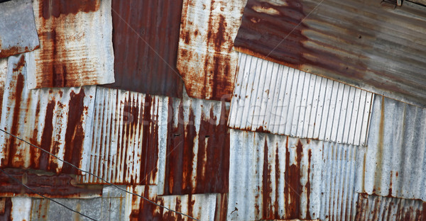 old rusty galvanized and corrugated steel panel Stock photo © vichie81