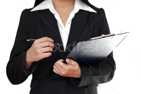 Zakenvrouw pen hand man werk Stockfoto © vichie81
