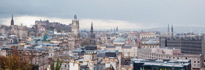 Edinburgh sziluett panoráma Skócia Egyesült Királyság város Stock fotó © vichie81