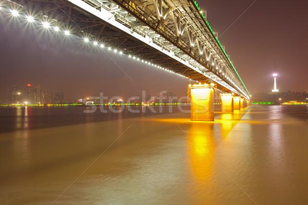 Yangtze river Bridge Wuhan China Stock photo © vichie81