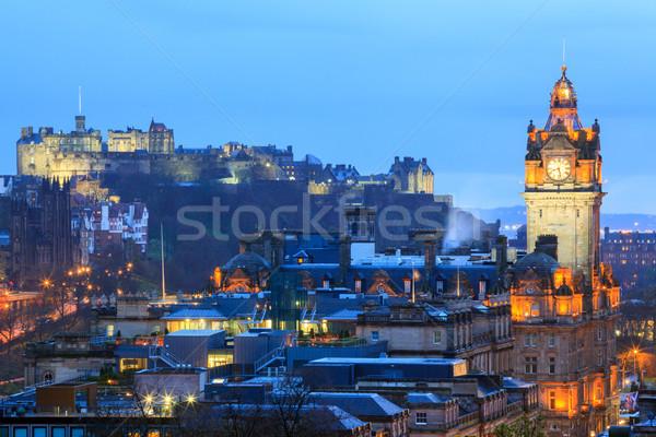 Zdjęcia stock: Edinburgh · Cityscape · zamek · Hill · zmierzch · Szkocji