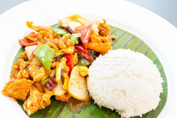 Keverés sültcsirke kesudió tyúk vacsora rizs Stock fotó © vichie81
