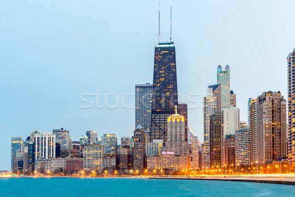 Chicago alkonyat belváros tó Michigan épület Stock fotó © vichie81