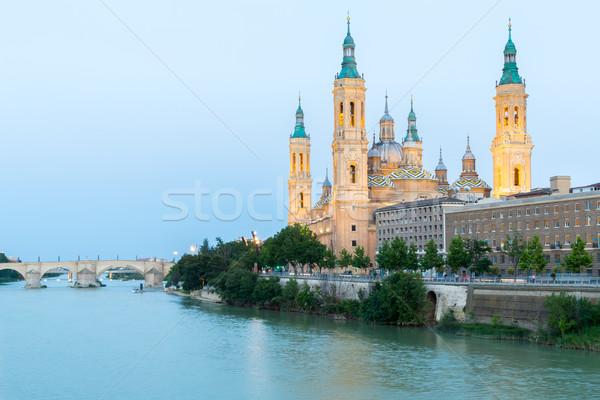 Bazilika Spanyolország hölgy oszlop folyó alkonyat Stock fotó © vichie81