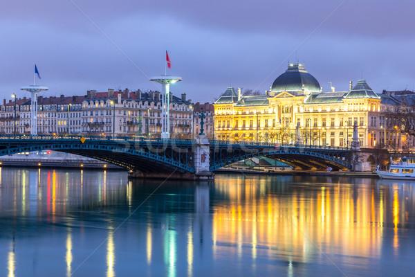 Lyon egyetem híd folyó éjszaka utazás Stock fotó © vichie81