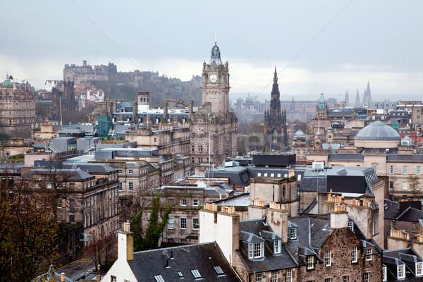 Сток-фото: Эдинбург · Шотландии · здании · замок · холме · закат