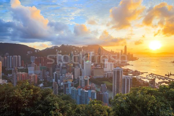 Stock fotó: Hdr · naplemente · Hongkong · városkép · építkezés · városi