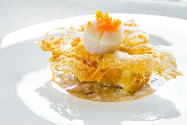 hokkaido scallop with crab meat sauce  Stock photo © vichie81