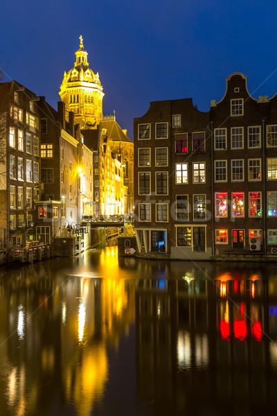 Amsterdam noche iglesia anochecer agua Foto stock © vichie81