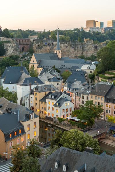 Luksemburg Night City miasta wygaśnięcia górę widoku Zdjęcia stock © vichie81