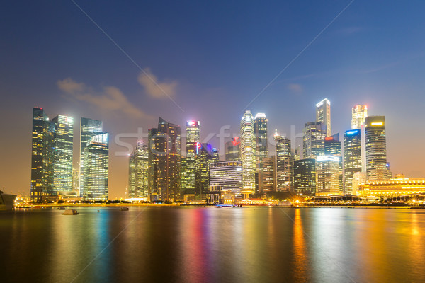 Singapour centre-ville coucher du soleil cityscape modernes Skyline Photo stock © vichie81