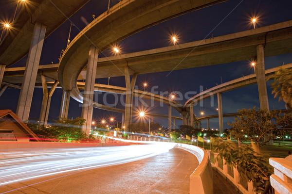 архитектура как промышленных моста кольца сумерки Сток-фото © vichie81