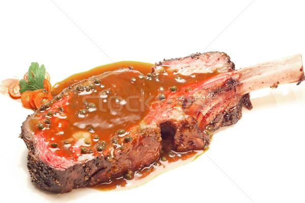 Bifsztek gurmé fő- főfogás grillezett fűszeres Stock fotó © vichie81