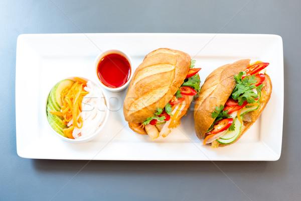Baguette sándwich cerdo vegetales alimentos fondo Foto stock © vichie81