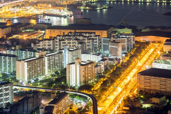 Osaka ufuk çizgisi gece Bina Japonya binalar Stok fotoğraf © vichie81