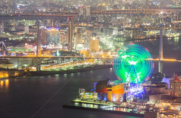 Osaka gece Japonya ufuk çizgisi Bina binalar Stok fotoğraf © vichie81