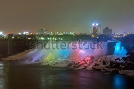 Amerikaanse nacht panorama verlichting licht tabel Stockfoto © vichie81