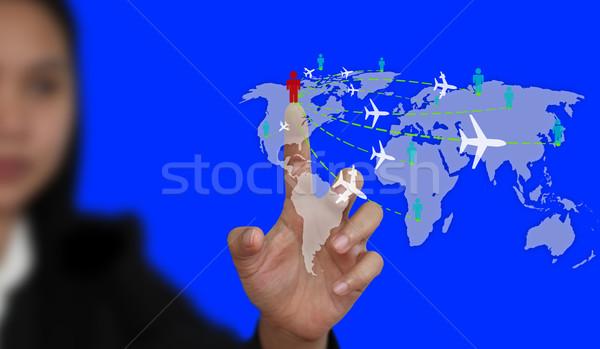 Világutazás üzlet üzletasszony érintés virtuális interfész Stock fotó © vichie81