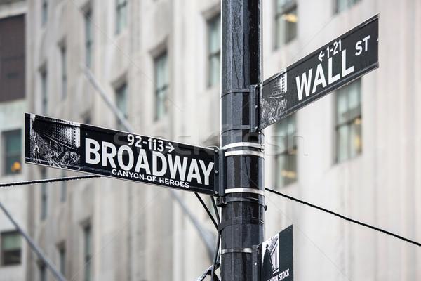Wall Street Бродвей знак Нью-Йорк деньги город Сток-фото © vichie81