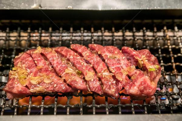 Stock fotó: Grillezett · marhahús · japán · hús · BBQ · tűz