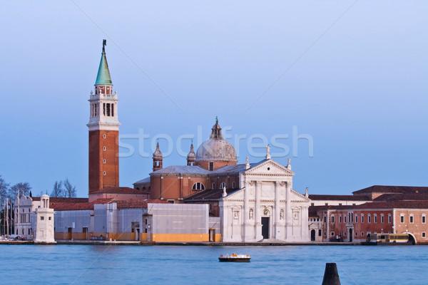 Venecia crepúsculo Italia paisaje mar puente Foto stock © vichie81