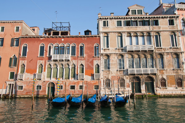 goldola boat parking in grand canal Venice Italy Stock photo © vichie81