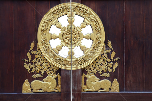 chinese style wooden door with golden ornamental at dragon templ Stock photo © vichie81