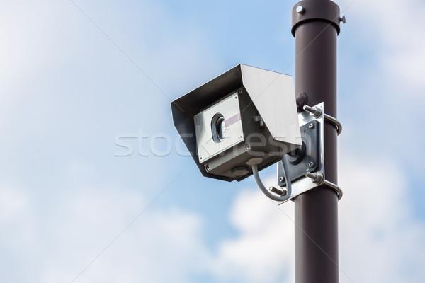 Foto stock: Cctv · cámara · de · seguridad · cielo · azul · cielo · televisión · vídeo