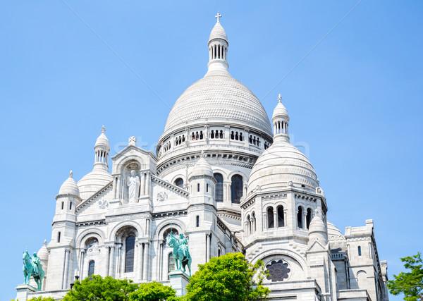 Katedrális Montmartre Párizs Franciaország fa fű Stock fotó © vichie81