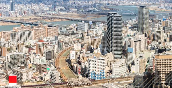 Osaka Cityscape panorama ufuk çizgisi Bina Stok fotoğraf © vichie81