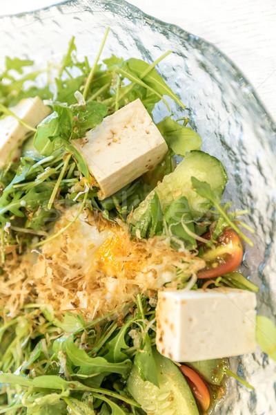 Tofu saláta egészség tojás háttér vacsora Stock fotó © vichie81