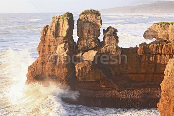 pancake rock canyon at western coast in New Zealand Stock photo © vichie81