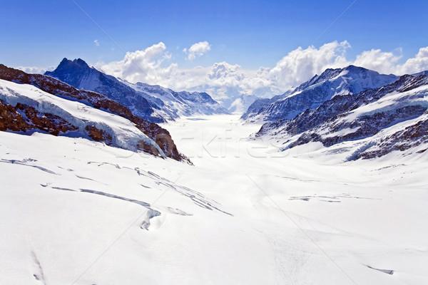 Landscape of Great Aletsch Glacier Jungfrau region,Part of Swiss Alpine Alps at Switzerland. Great A Stock photo © vichie81