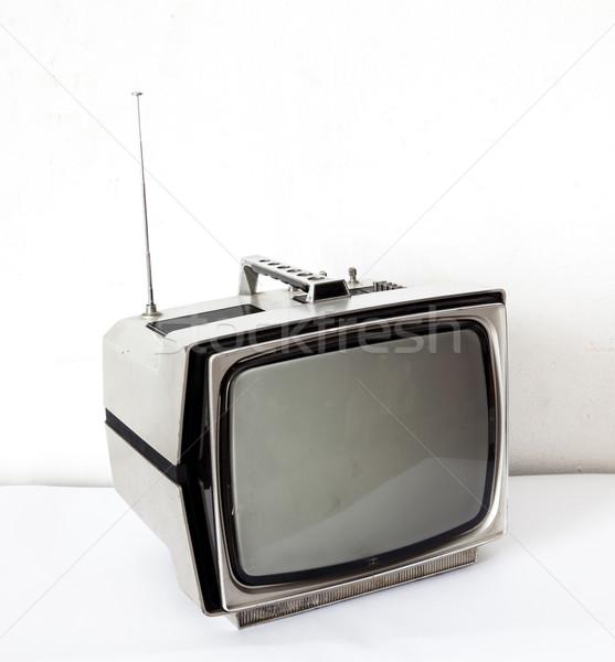 Vintage grigio tv bianco tavola televisione Foto d'archivio © vichie81