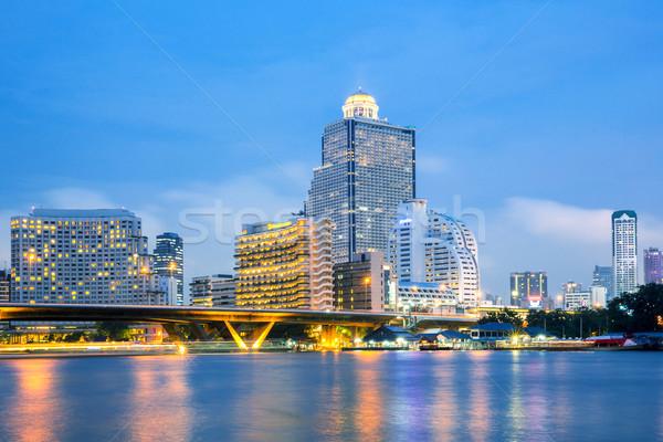 Bangkok ufuk çizgisi nehir gün batımı tan su Stok fotoğraf © vichie81