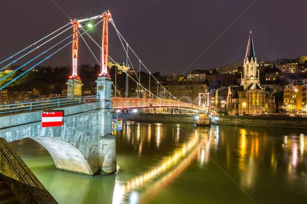 Lyon igreja noite França água ponte Foto stock © vichie81