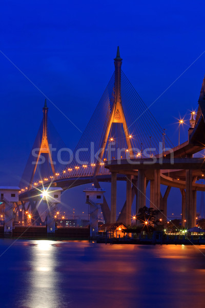 Bangkok brug industriële ring schemering Stockfoto © vichie81
