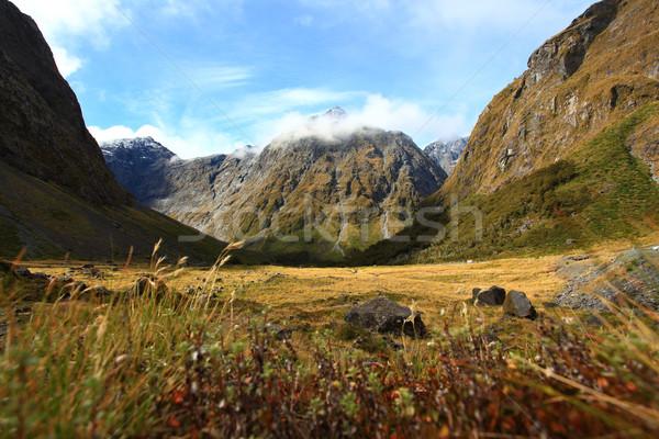 Új-Zéland hang hegy tájkép természet hó Stock fotó © vichie81