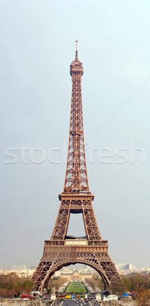 Eiffel-torony turné panoráma Párizs Franciaország fa Stock fotó © vichie81
