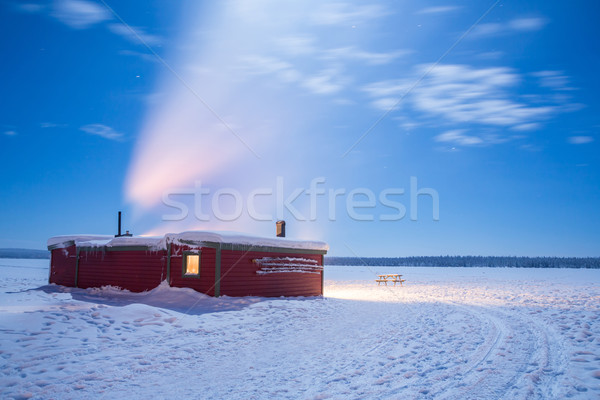 Inverno panorama Svezia notte cabina capanna Foto d'archivio © vichie81