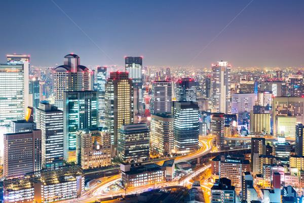 Osaka akşam karanlığı Japonya ufuk çizgisi Bina ofis Stok fotoğraf © vichie81