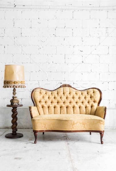 Brown sofa with lamp Stock photo © vichie81