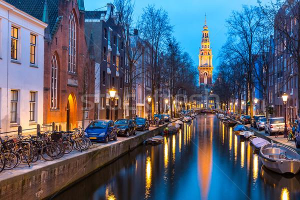 South Church Zuiderkerk Amsterdam at dusk Stock photo © vichie81