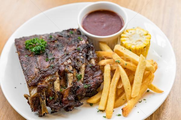 Grelhado carne de porco costelas bebê de volta Foto stock © vichie81