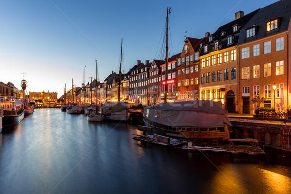 Kopenhagen Denemarken nieuwe haven nacht water Stockfoto © vichie81